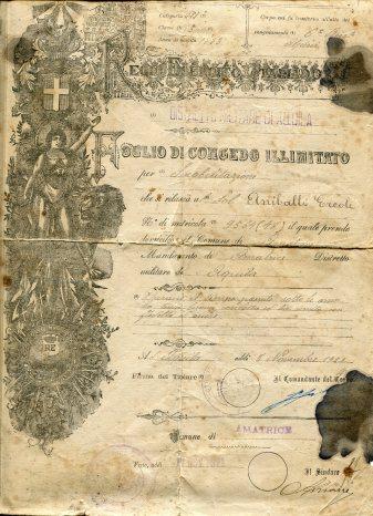 FOGLIO MATRICOLARE E CONGEDO ERCOLE ANIBALLI 001