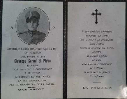 Giuseppe Serani, morto in Albania nel 1941