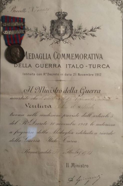 Medaglia commemorativa a Satiro Ventura, Scandriglia 1913 - Famiglia Ventura