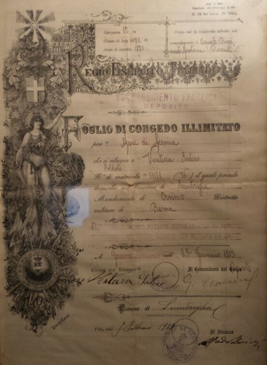 Foglio di congedo, Guerra Italo-Turca, Scandriglia 1913 - Famiglia Ventura