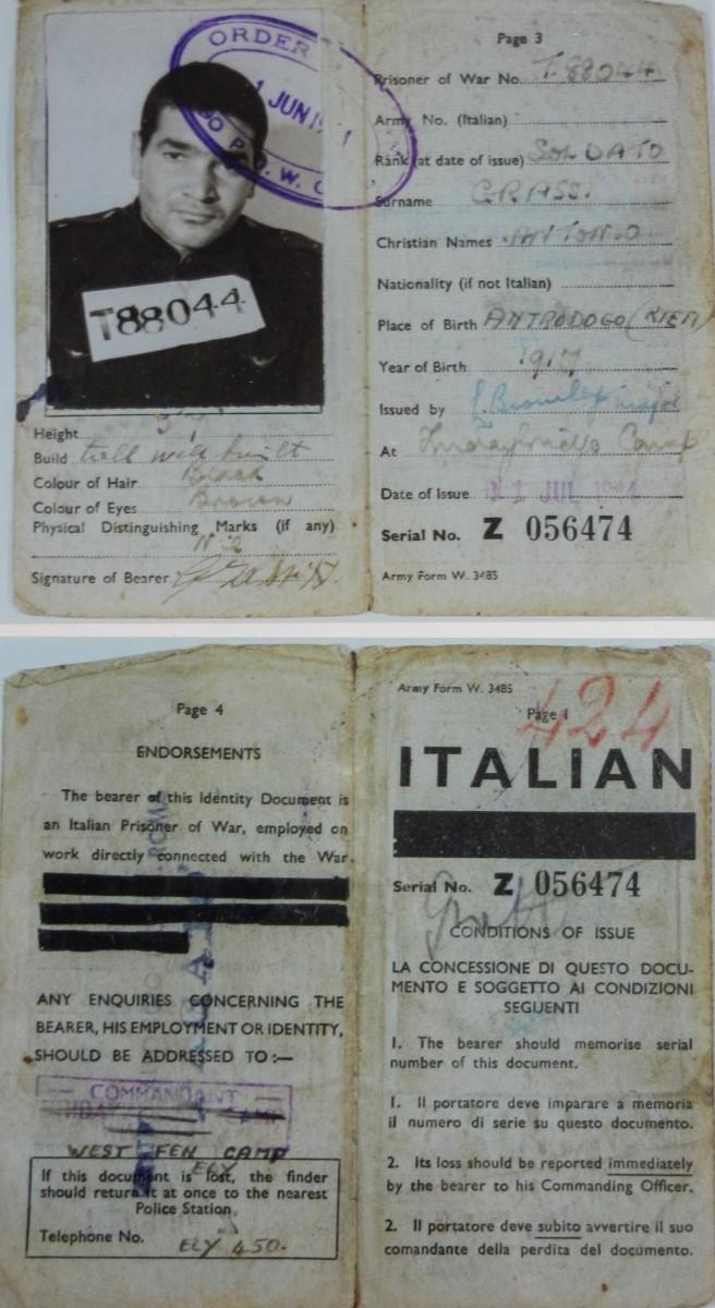 Tessera del soldato Antonio Grassi, prigioniero in un campo degli Alleati, luglio 1944
