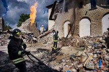Amatrice (Rieti, Lazio - Italy), 3rd October 2016, Firefighters of the NBCR Lazio department (Nuclear, Biological, Chemical and Radioactive risk specialists) in the central city red zone destroyed by the 24th August 2016 earthquake