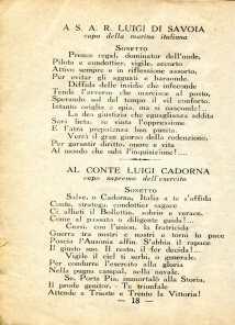 14. Pro guerra italo-austriaca, 1916, Sonetto a Luigi Di Savoia e Luigi Cadorna [Archivio privato Francesco Di Marzio]