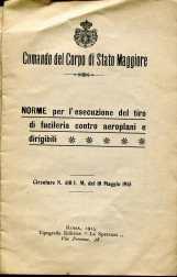 2. Norme per l'esecuzione del tiro di fucileria contro aeroplani e dirigibili, 1915 [Archivio privato Egisto Fiori]