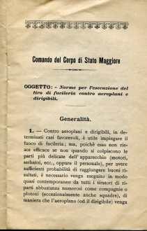 3. Norme per l'esecuzione del tiro di fucileria contro aeroplani e dirigibili, 1915 [Archivio privato Egisto Fiori]