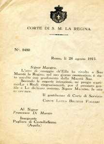 3. Pro guerra italo-austriaca, 1916, Lettera Conte Lucca Bruschi Falgari[Archivio privato Francesco Di Marzio]