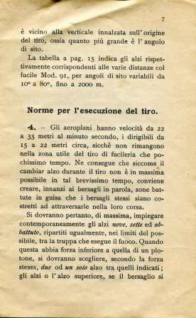 5. Norme per l'esecuzione del tiro di fucileria contro aeroplani e dirigibili, 1915 [Archivio privato Egisto Fiori]