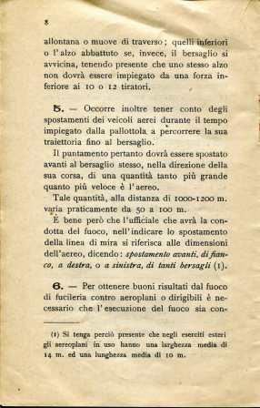 6. Norme per l'esecuzione del tiro di fucileria contro aeroplani e dirigibili, 1915 [Archivio privato Egisto Fiori]