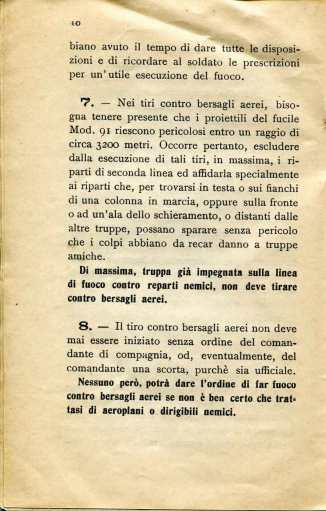 8. Norme per l'esecuzione del tiro di fucileria contro aeroplani e dirigibili, 1915 [Archivio privato Egisto Fiori]