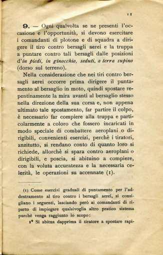 9. Norme per l'esecuzione del tiro di fucileria contro aeroplani e dirigibili, 1915 [Archivio privato Egisto Fiori]