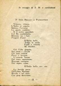 9. Pro guerra italo-austriaca, 1916, Inni bellici e patriottici [Archivio privato Francesco Di Marzio]