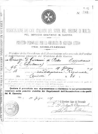 PRECETTO SMOM-DON MINOZZI 1915 [©archivio Famiglia dei Discepoli ONPMI Fondo Padre Minozzi]