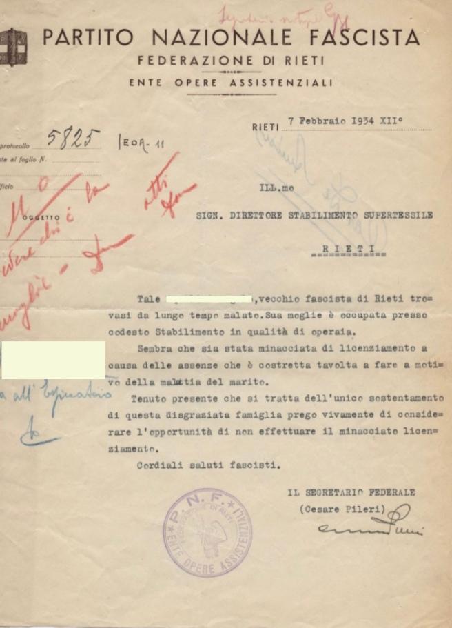 Archivio di Stato di Rieti, Archivio della Snia di Rieti, Comunicazione del segretario federale Cesare Pileri, 7 febbraio 1934