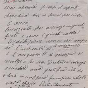 Archivio di Stato di Rieti, Archivio della Snia di Rieti, Comunicazione di un'operaia, 8 settembre 1934