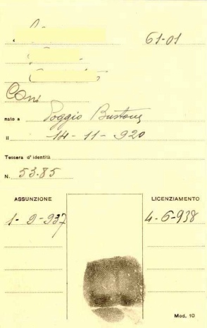Archivio di Stato di Rieti, Archivio della Snia di Rieti, Documento operaia, 1937-38