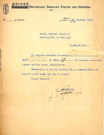 Archivio di Stato di Rieti, Archivio della Snia di Rieti, Lettera, 23 novembre 1929