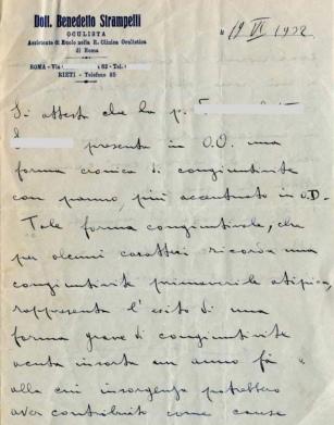 Archivio di Stato di Rieti, Archivio della Snia di Rieti, Referto del Dott. Benedetto Strampelli, 19 giugno 1932_lato A