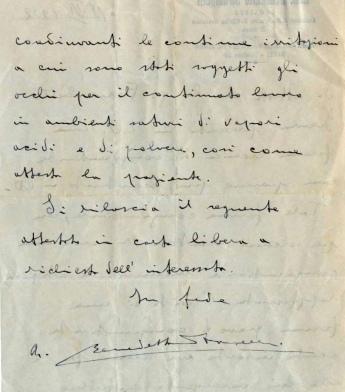 Archivio di Stato di Rieti, Archivio della Snia di Rieti, Referto del Dott. Benedetto Strampelli, 19 giugno 1932_lato B