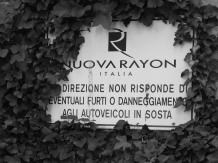 Archivio privato di Egisto Fiori, Rieti, Targa con l'ultimo nome di quella che fu la Snia, 2018