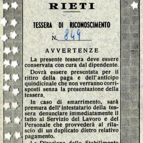 Archivio privato di Gabriella Rinaldi, Tessera di riconoscimento, 1968