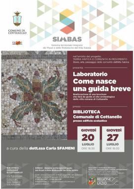 """Biblioteca comunale di Cottanello, Laboratorio """"Come nasce una guida breve"""", Locandina"""