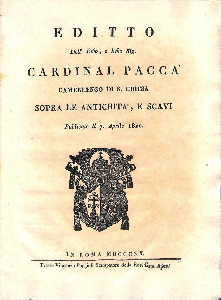 Editto Pacca, 1820, Archivio di Stato di Rieti, Fondo Delegazione Apostolica, Busta 210