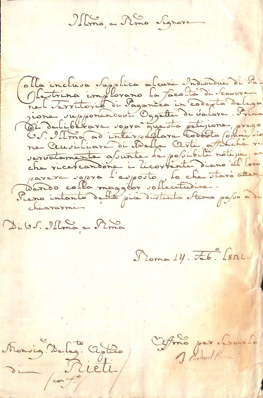 Lettera a firma del cardinal Pacca, 1821, Archivio di Stato di Rieti, Fondo Delegazione Apostolica, Busta 187