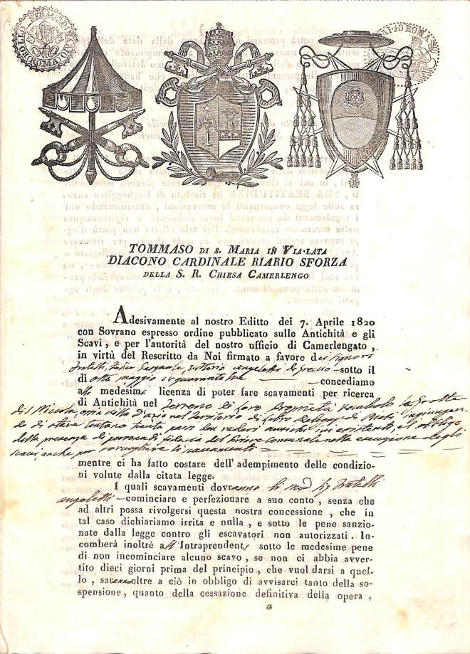 Licenza scavo 1243, Archivio di Stato di Rieti, Fondo Delegazione Apostolica, Busta 220