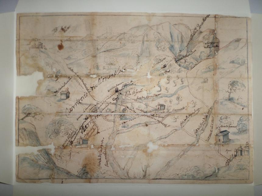 Mappa dei confini tra Montasola e Aspra (1622), Archivio Storico Comunale di Casperia
