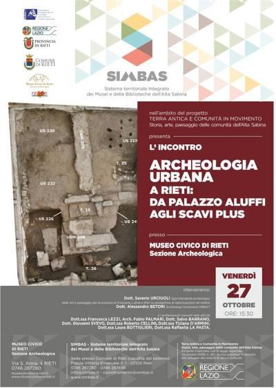 "Museo civico di Rieti, Sezione Archeologica, Convegno ""Archeologia urbana a Rieti"", Locandina"