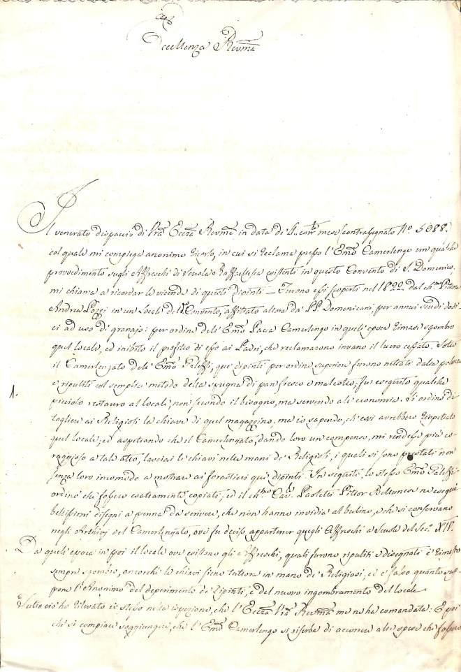 Relazione di A. M. Ricci su S. Domenico, 1838, Archivio di Stato di Rieti, Fondo Delegazione Apostolica, Busta 206