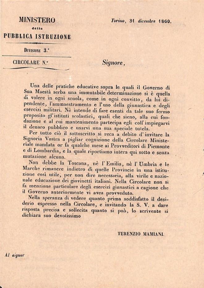 Archivio di Stato di Rieti, Circolare del Ministero della pubblica istruzione, 1860