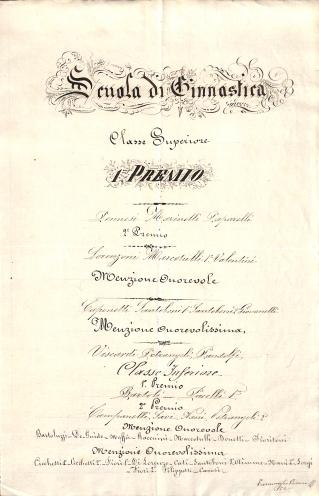 Archivio di Stato di Rieti, Premiazione degli alunni all'esperimento di ginnastica