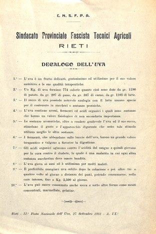 Archivio di Stato di Rieti, Archivio comunale di Rieti, Carteggio amministrativo, Rieti, Festa dell'uva, Decalogo dell'uva, 1931