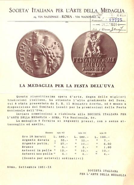 Archivio di Stato di Rieti, Archivio comunale di Rieti, Carteggio amministrativo, Rieti, Festa dell'uva, Medaglia, 1931