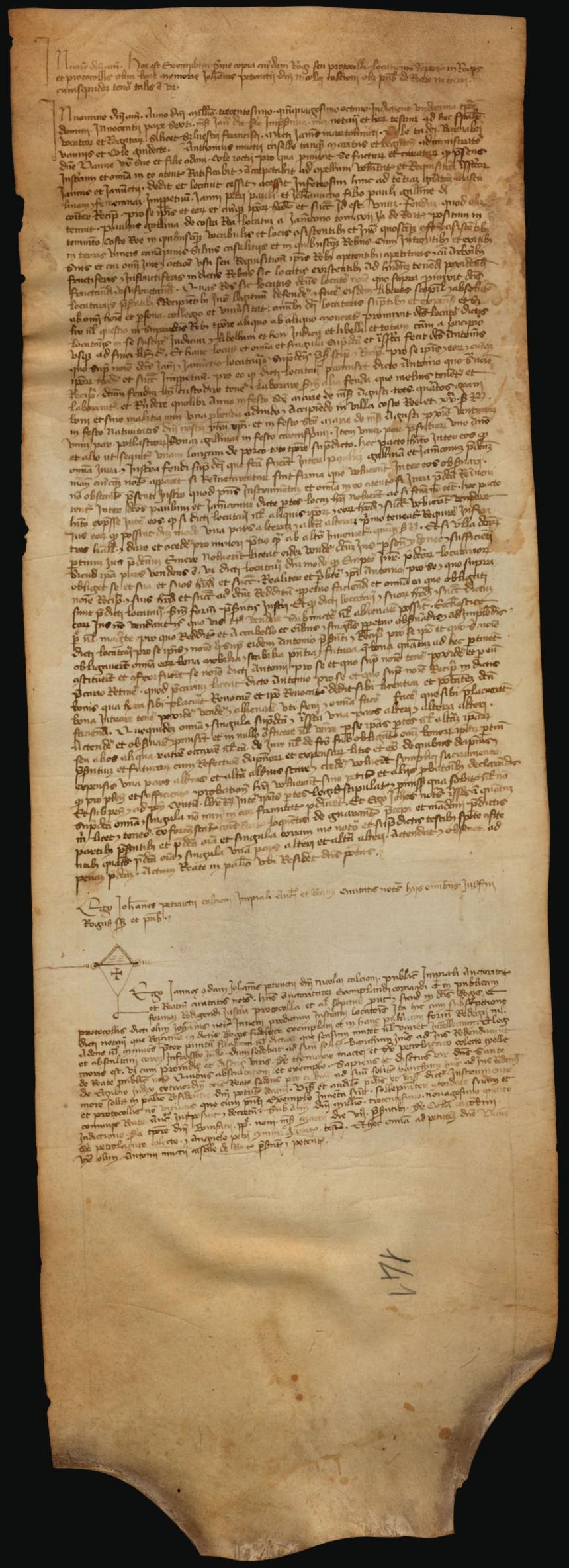 Archivio di Stato di Rieti, Archivio Storico Comunale Rieti, Pergamene, Album E, n.105.