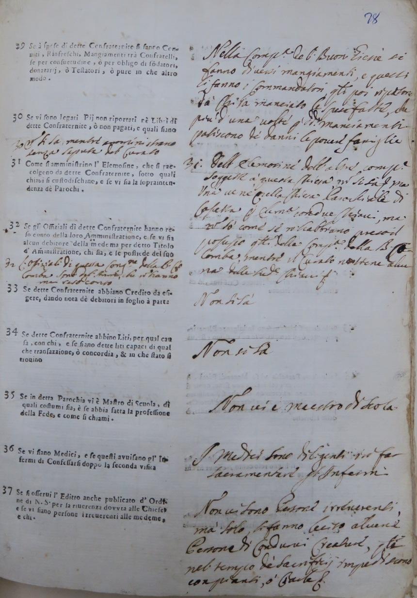 Archivio Storico Diocesano di Rieti, Archivio vescovile di Rieti, Visite pastorali, 23:II, Antonino Serafino Camarda (1724-1726), c. 78r.