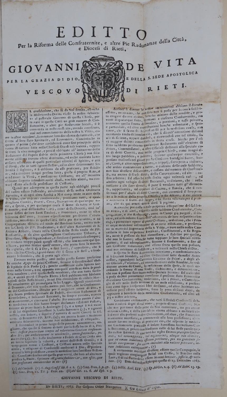 Archivio Storico Diocesano di Rieti, Archivio vescovile di Rieti, Visite pastorali, 39:I, Giovani De Vita (1765), c. 179.